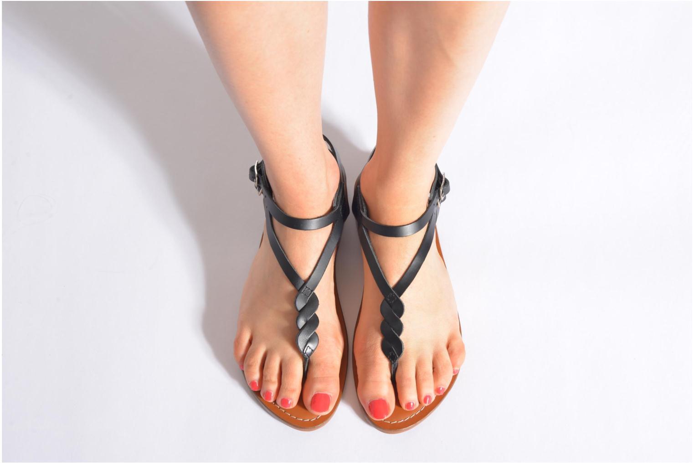 Sandales et nu-pieds L'Atelier Tropézien Fossette Noir vue bas / vue portée sac