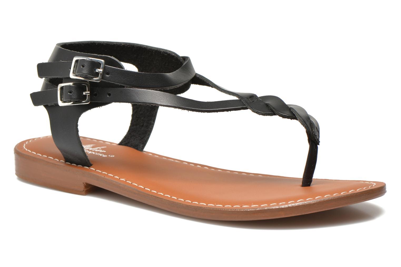 Sandales et nu-pieds L'Atelier Tropézien Fossette Noir vue détail/paire