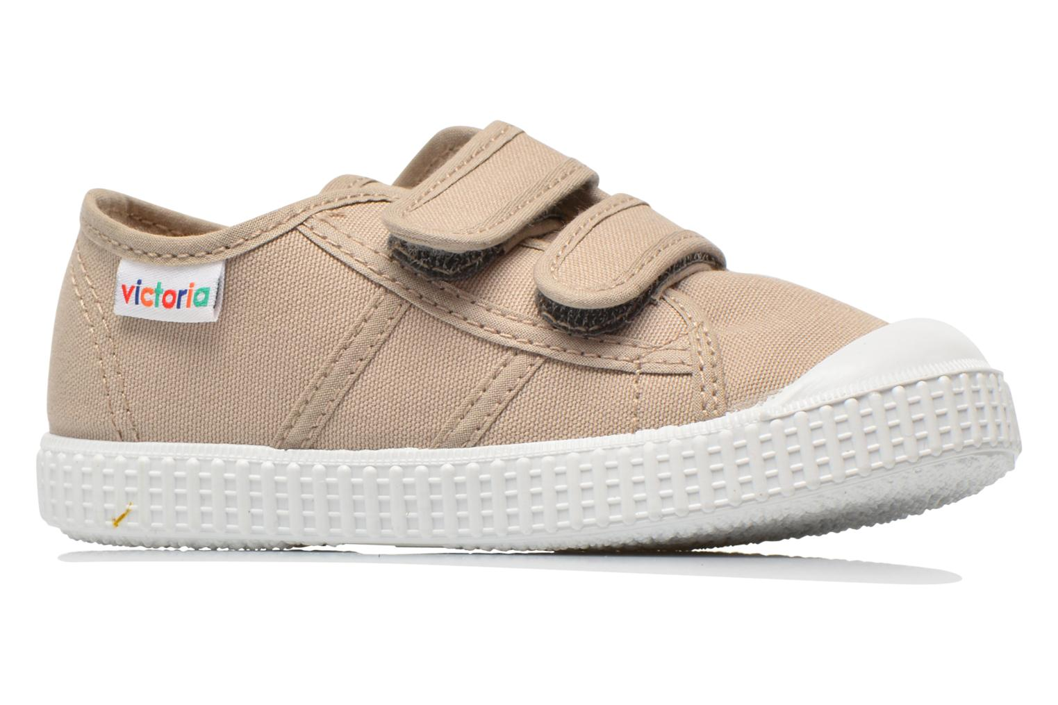 Trainers Victoria Basket lona Dos Velcos Beige back view