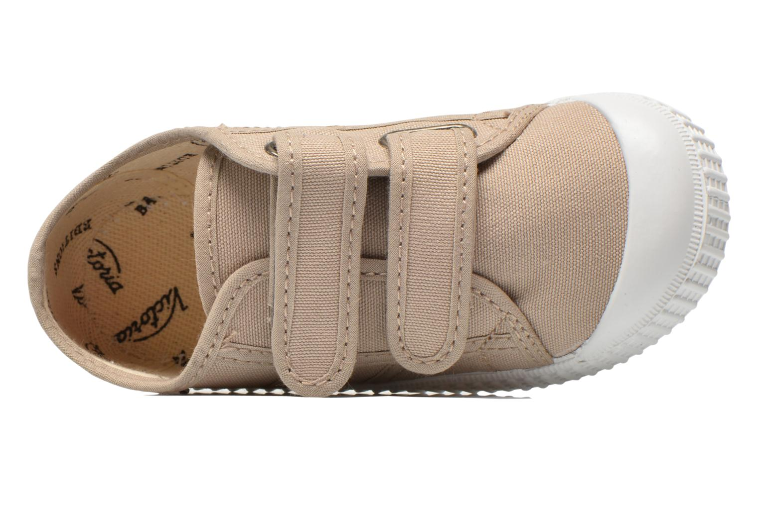Trainers Victoria Basket lona Dos Velcos Beige view from the left