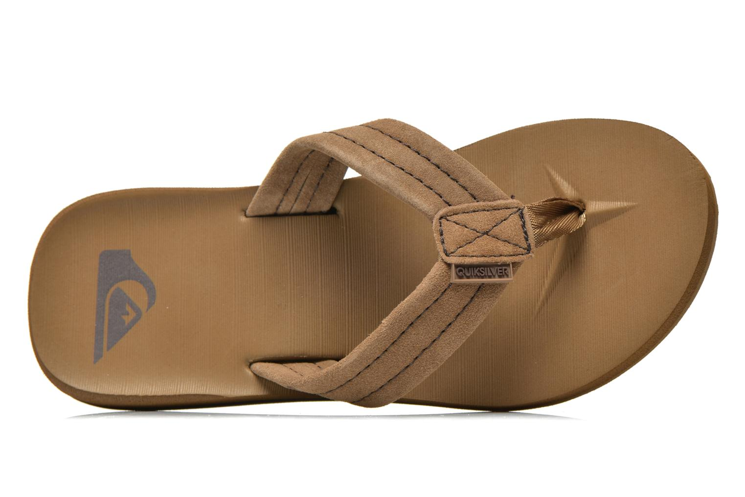 Flip flops Quiksilver Carver Suede Brown view from the left