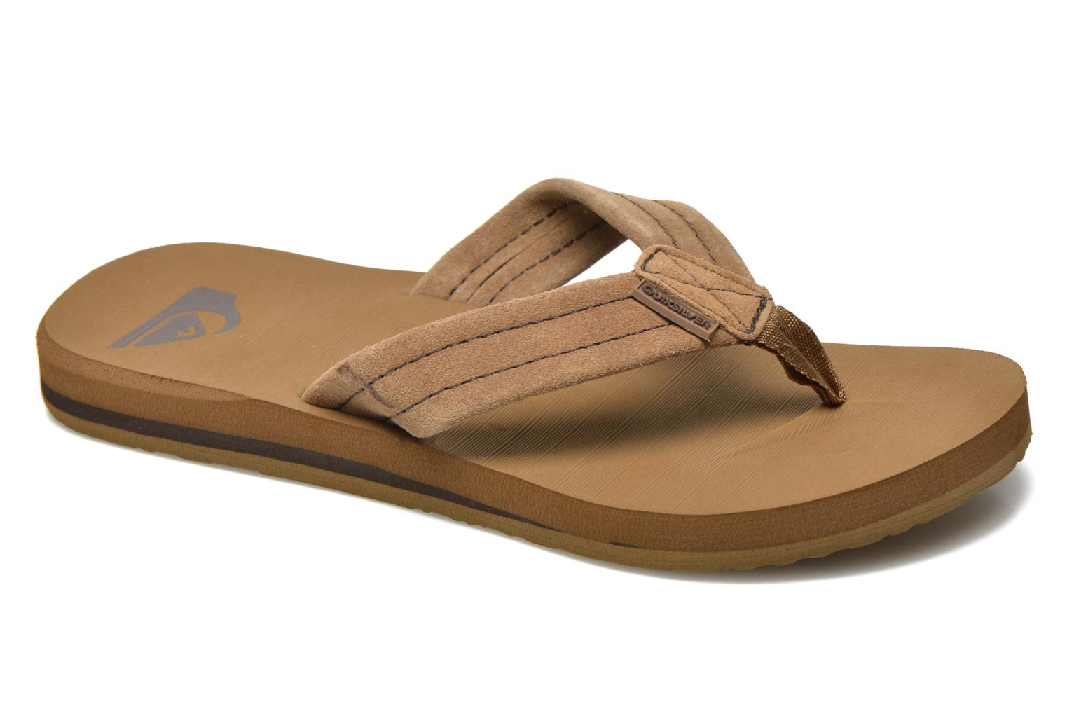 Flip flops Quiksilver Carver Suede Brown detailed view/ Pair view