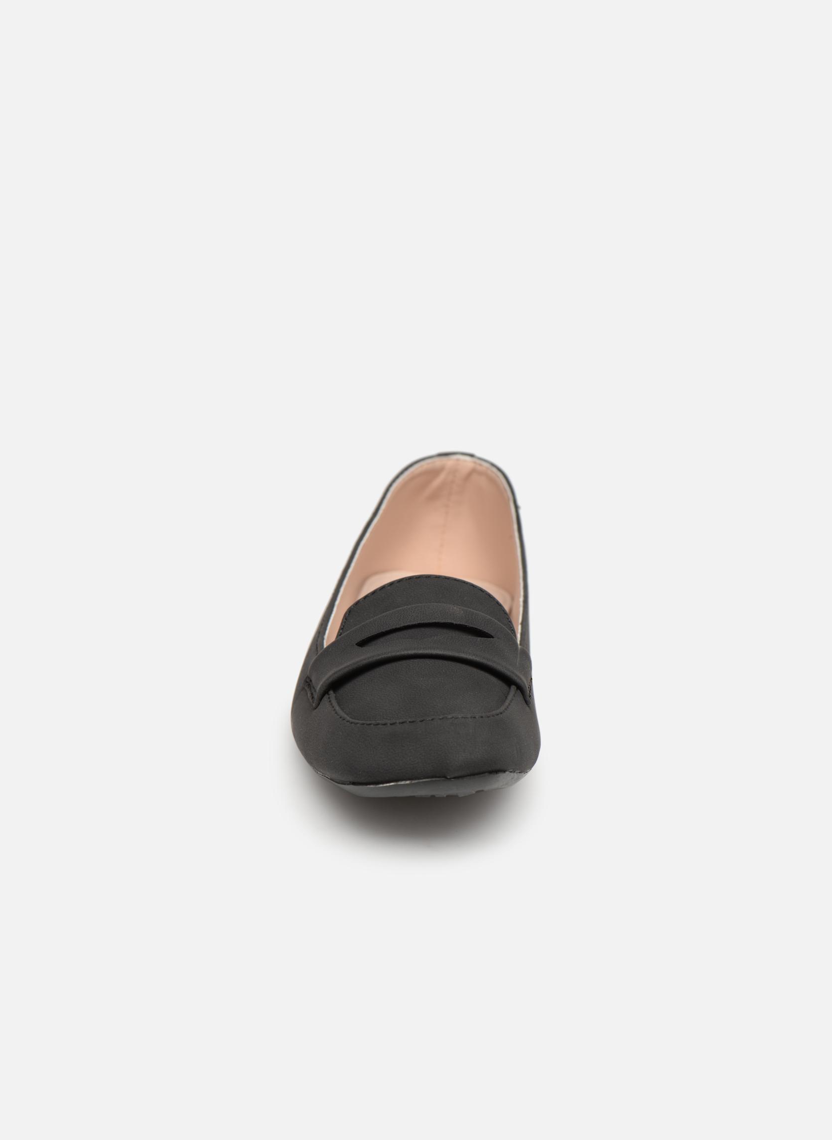 Slipper Isotoner Ballerines bout carré mocassin talon 1cm schwarz schuhe getragen
