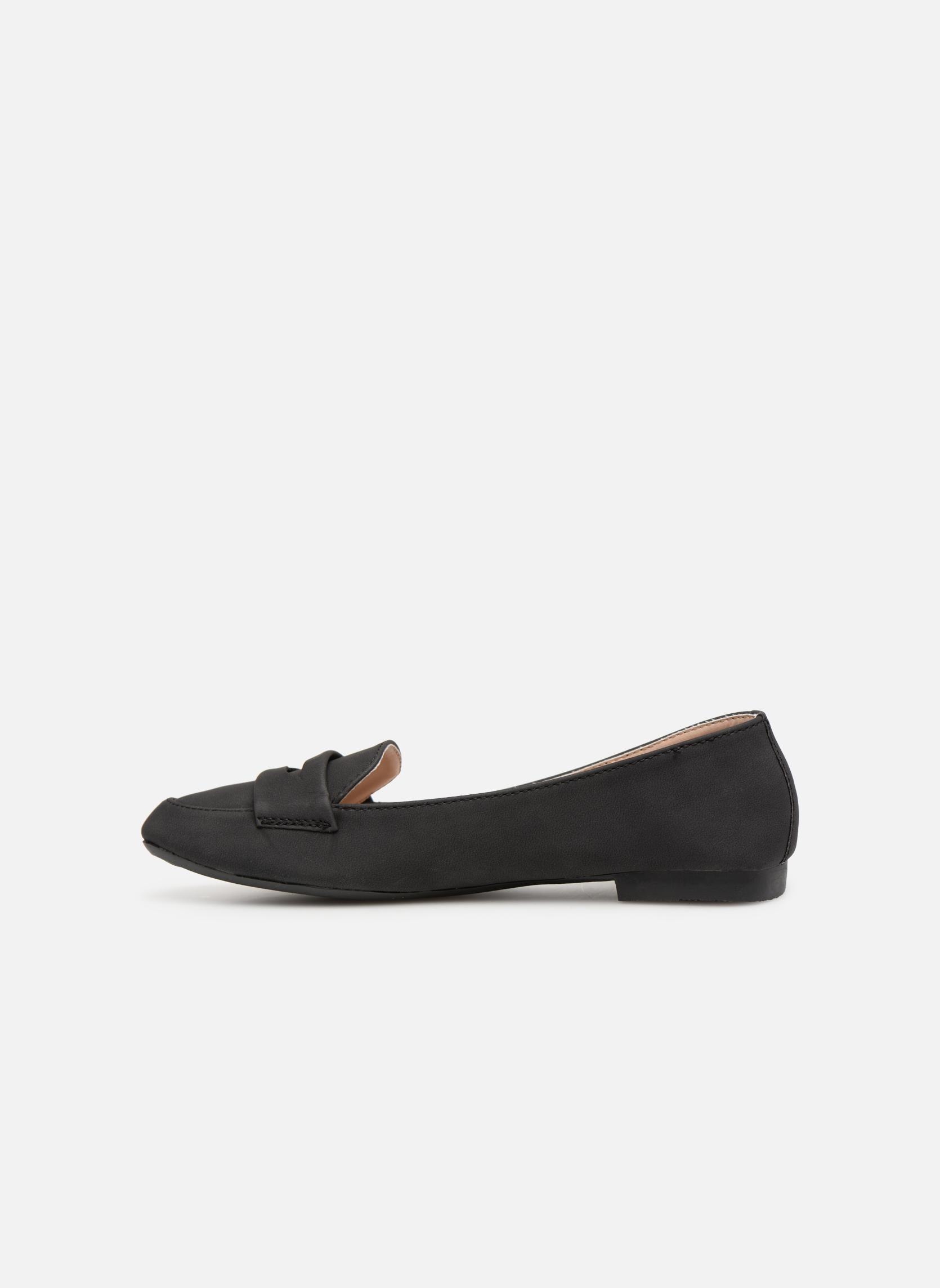 Slipper Isotoner Ballerines bout carré mocassin talon 1cm schwarz ansicht von vorne