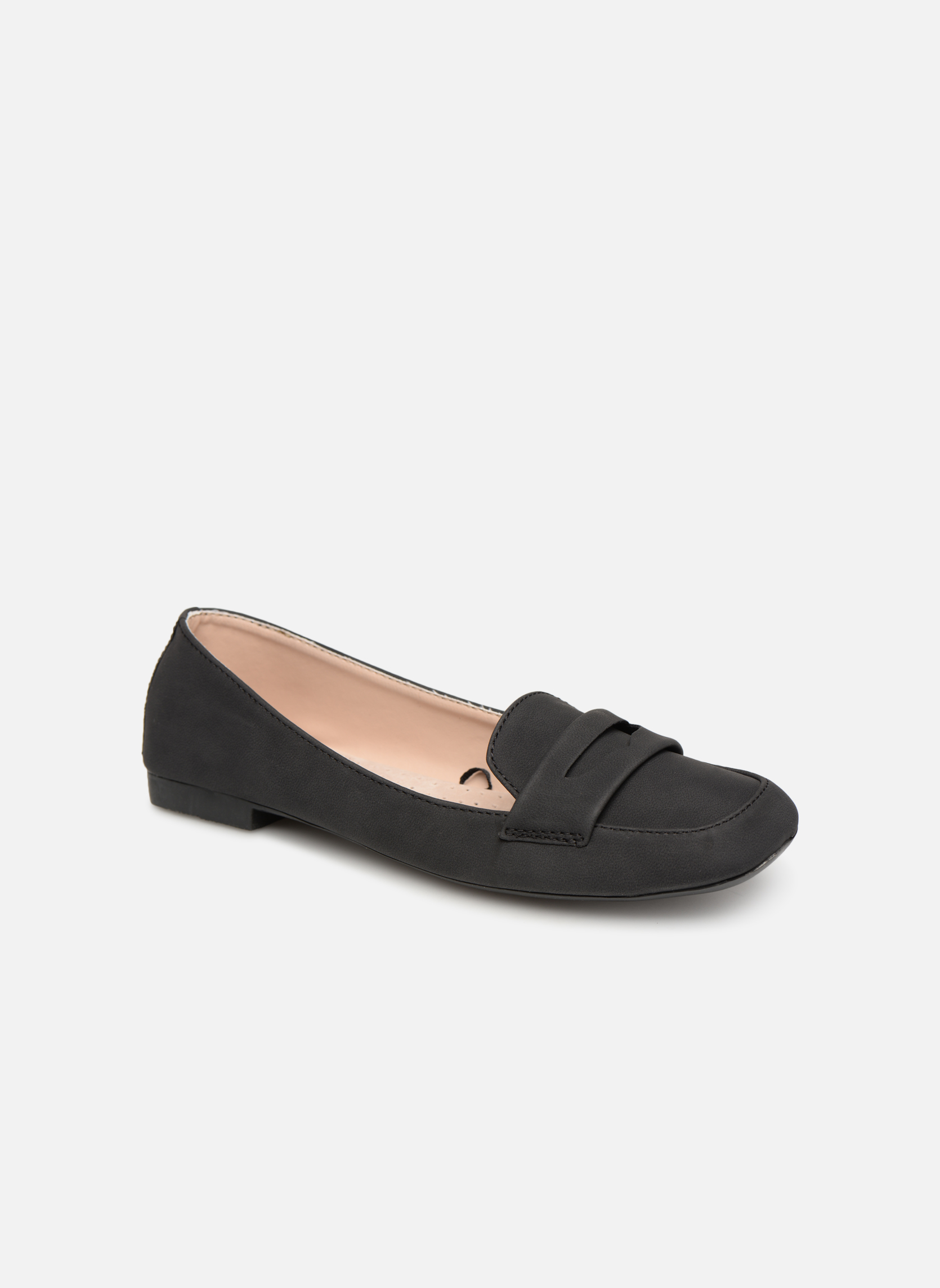 Slipper Isotoner Ballerines bout carré mocassin talon 1cm schwarz detaillierte ansicht/modell