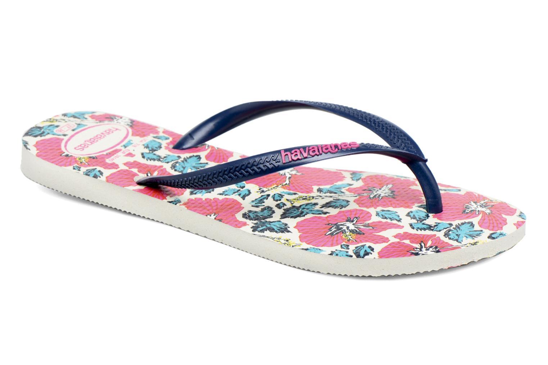 Slim Floral White navy blue