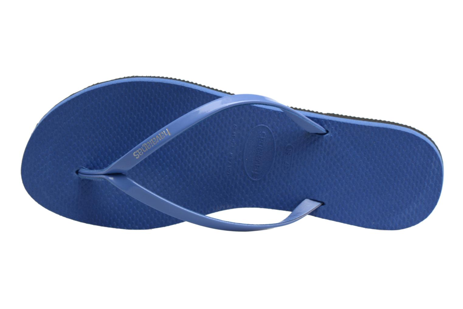 Tongs Havaianas You Metallic Bleu vue gauche