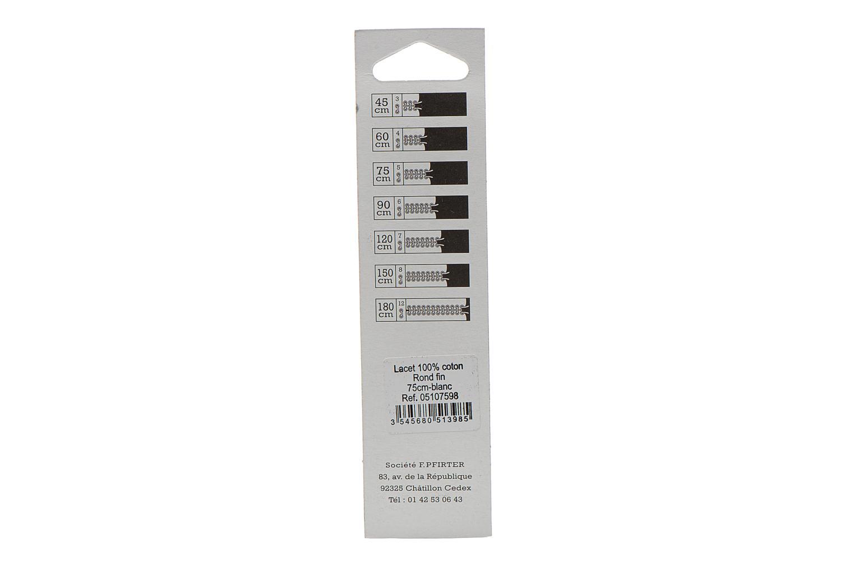 Lacets Rond Fin 75 cm Blanc