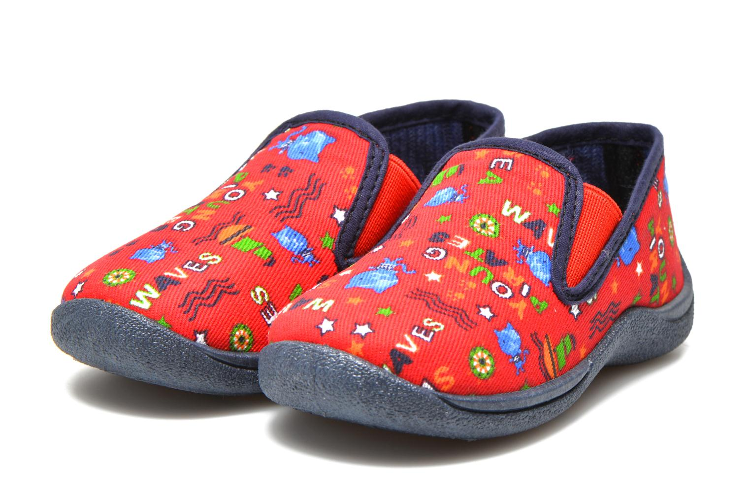 Chaussons Rondinaud Jimmy Rouge vue 3/4