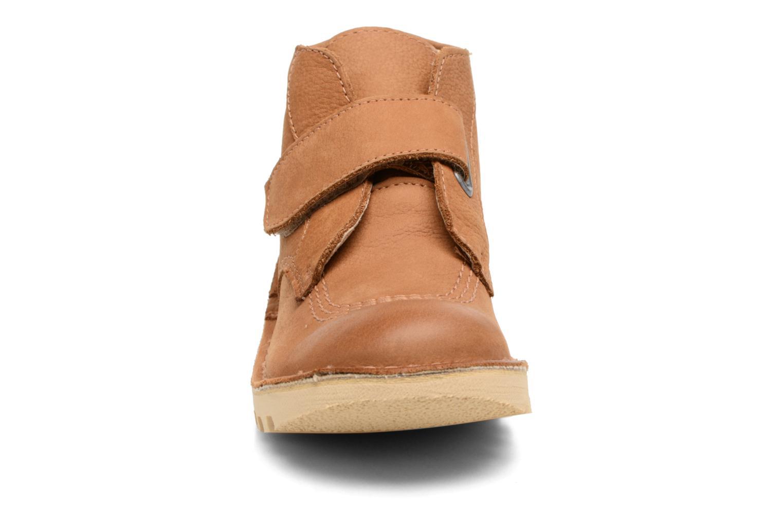 Chaussures à scratch Kickers Neokrafty Marron vue portées chaussures