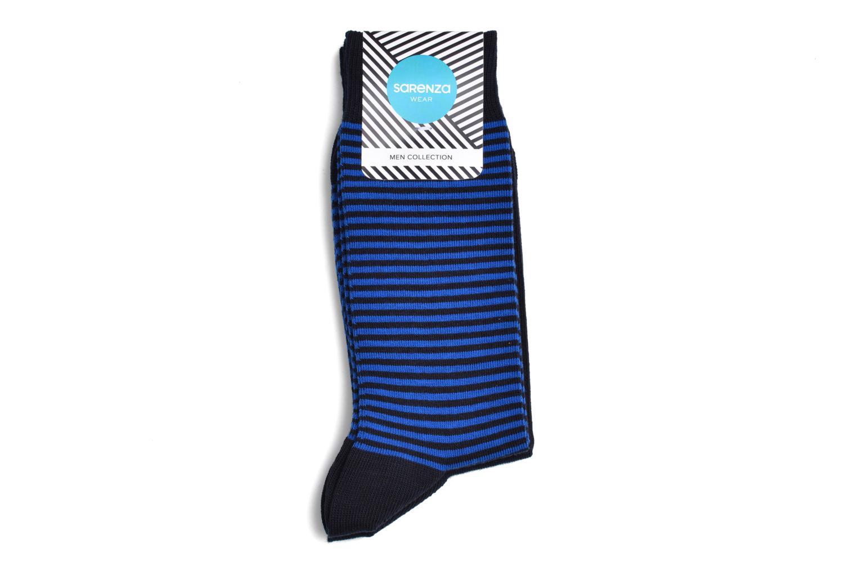 Socken Motifs 2er-Pack 1 rayée : Bleu et marine / 1 unie : marine
