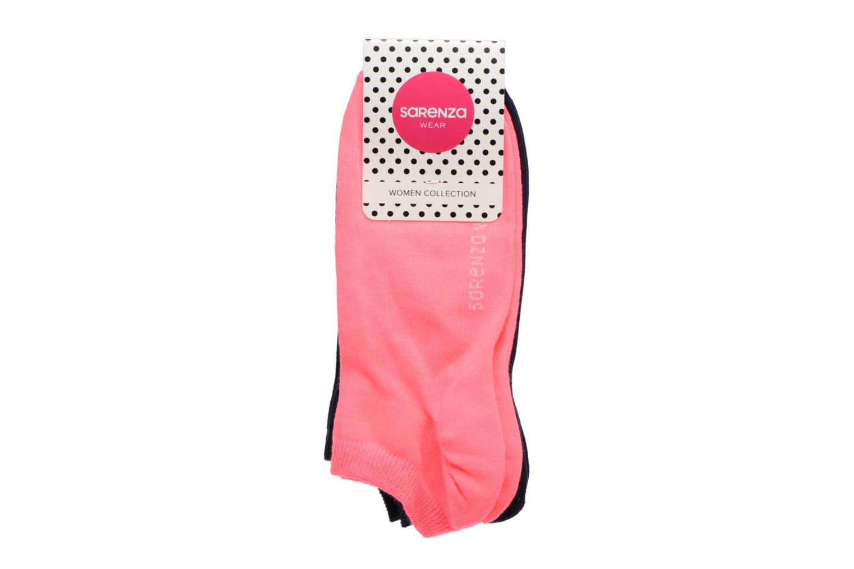 Chaussettes invisibles Femme unies Pack de 2 Coton Navy/rose