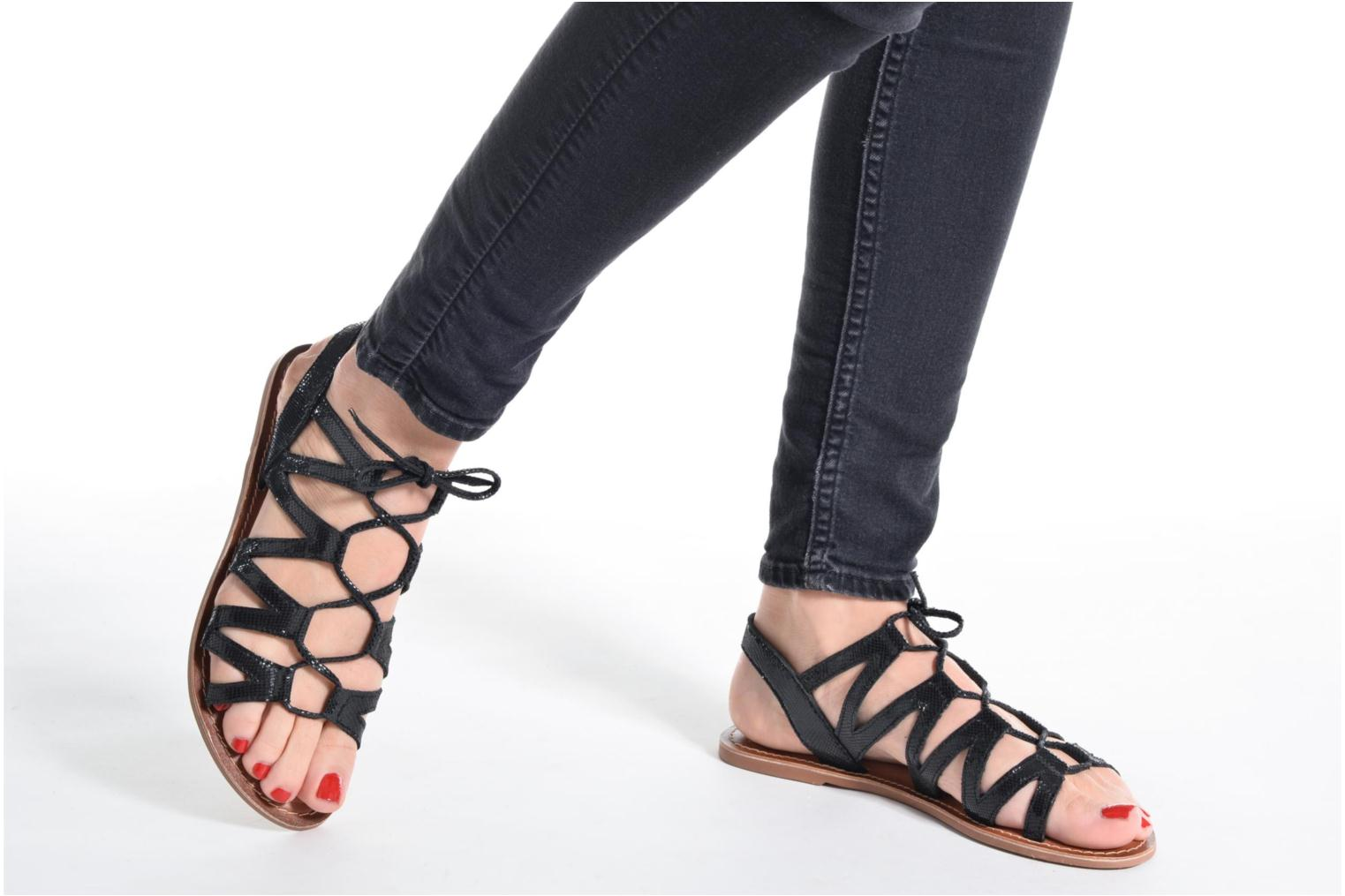 Sandals I Love Shoes SUGLI Leather Black view from underneath / model view