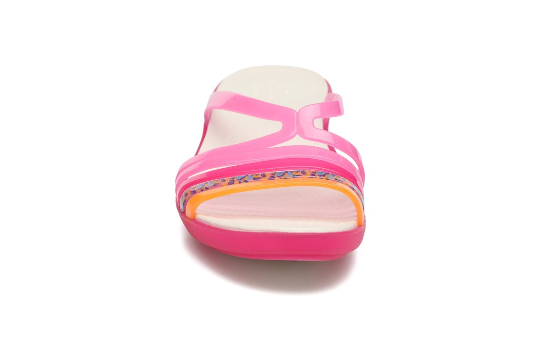 Mules et sabots Crocs Crocs Isabella Mini Wedge W Rose vue portées chaussures
