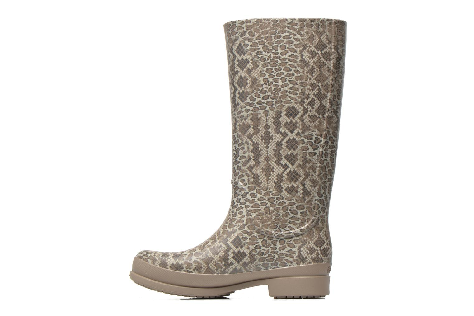 Boots & wellies Crocs Wellie Leopard Print Beige front view