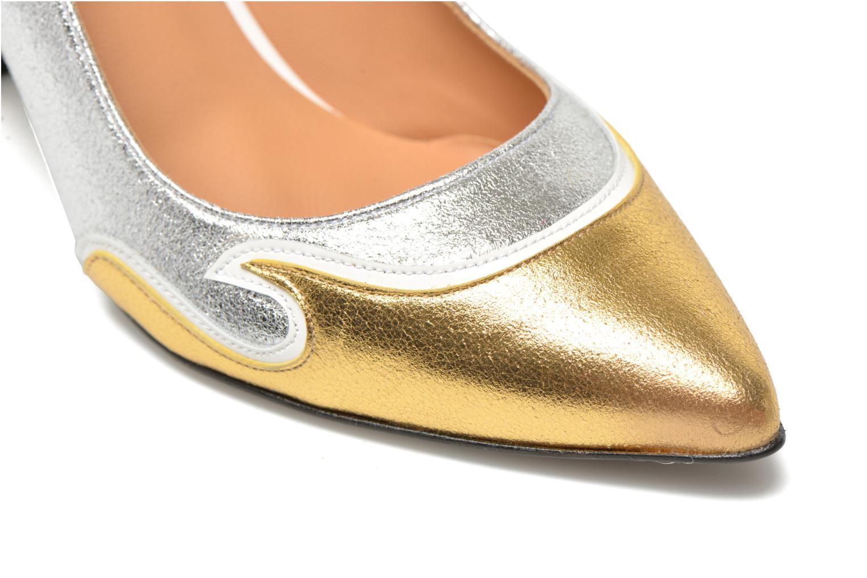 Glossy Cindy #2 Polvore Plata + polvore gold + vernis blanc