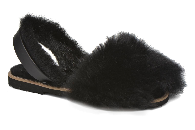 Sandales et nu-pieds MINORQUINES Avarca Sherpa Noir vue détail/paire