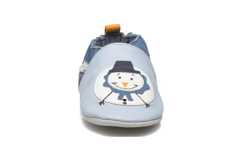 Hausschuhe Robeez Snow Party blau schuhe getragen