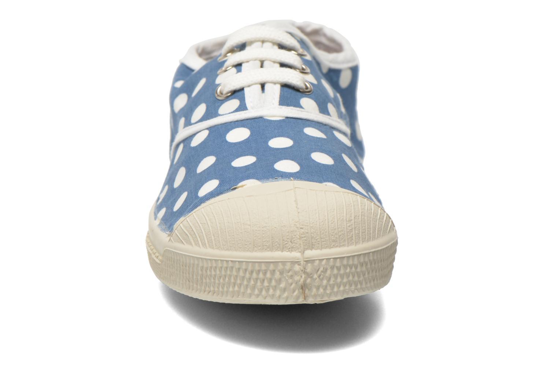 Baskets Bensimon Tennis Lacets Pois E Bleu vue portées chaussures