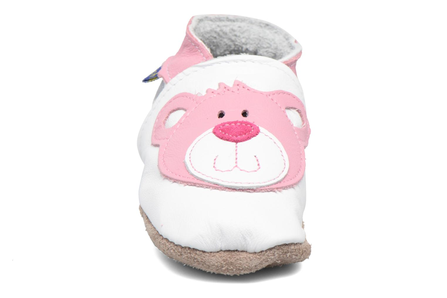 Chaussons Inch Blue Teddy Pink Blanc vue portées chaussures