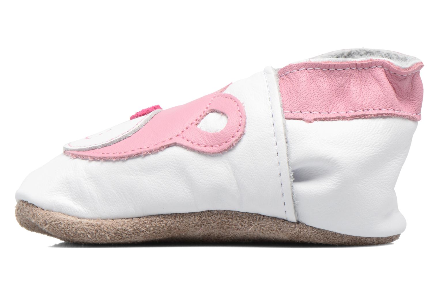Chaussons Inch Blue Teddy Pink Blanc vue face
