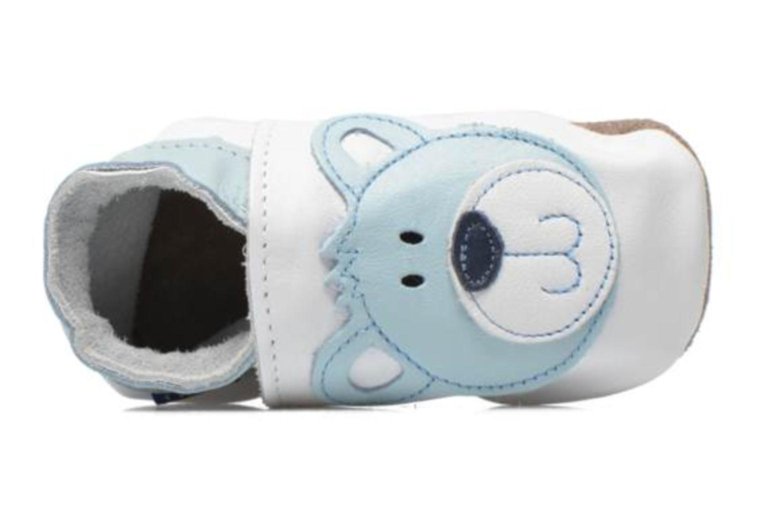 Pantuflas Inch Blue Teddy Blue Blanco vista lateral izquierda