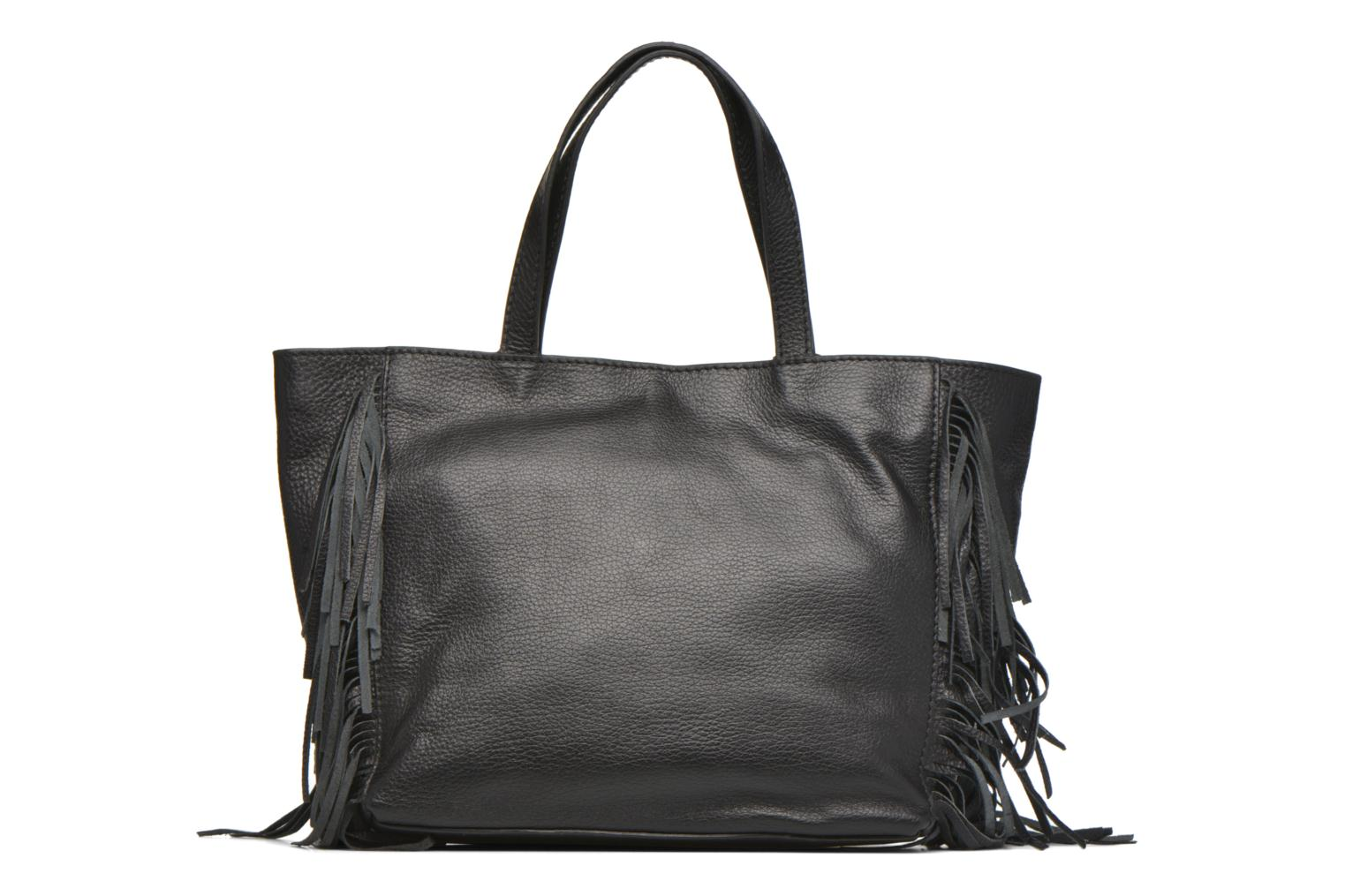 CABAS PARISIEN M Franges Cuir grainé Black