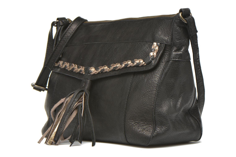 Bolsos de mano Pieces POFO Leather Crossbody bag Negro vista del modelo