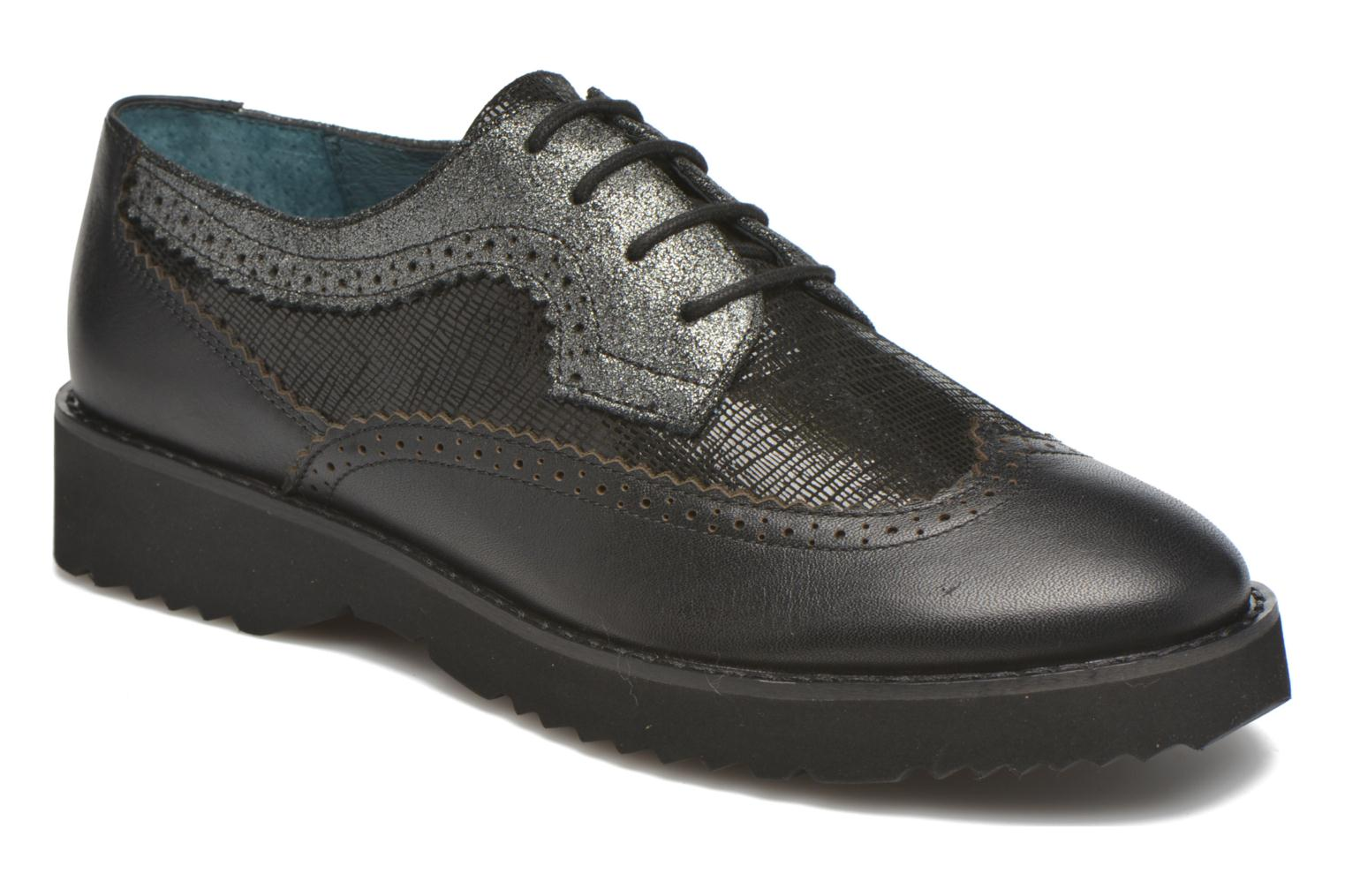 Lace-up shoes Karston OLAGO *Mult Vo Milled NOIR ~Doubl & 1ere CUIR Black detailed view/ Pair view