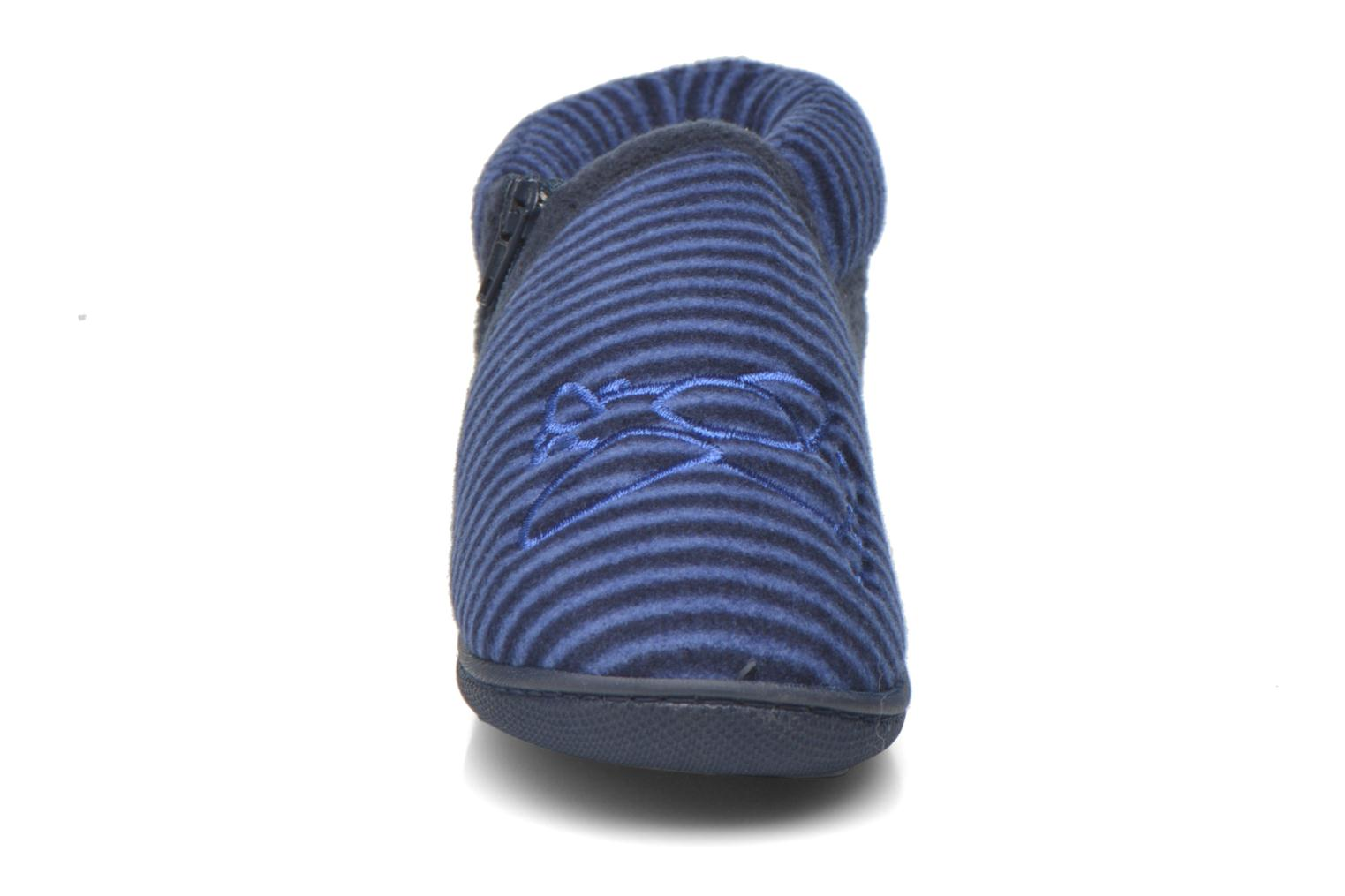 Slippers Isotoner Bottillon Zip polaire Blue model view