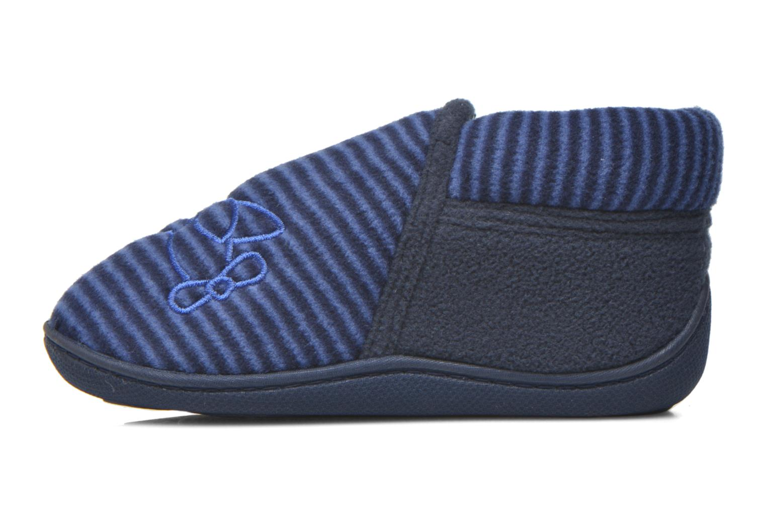 Slippers Isotoner Bottillon Zip polaire Blue front view