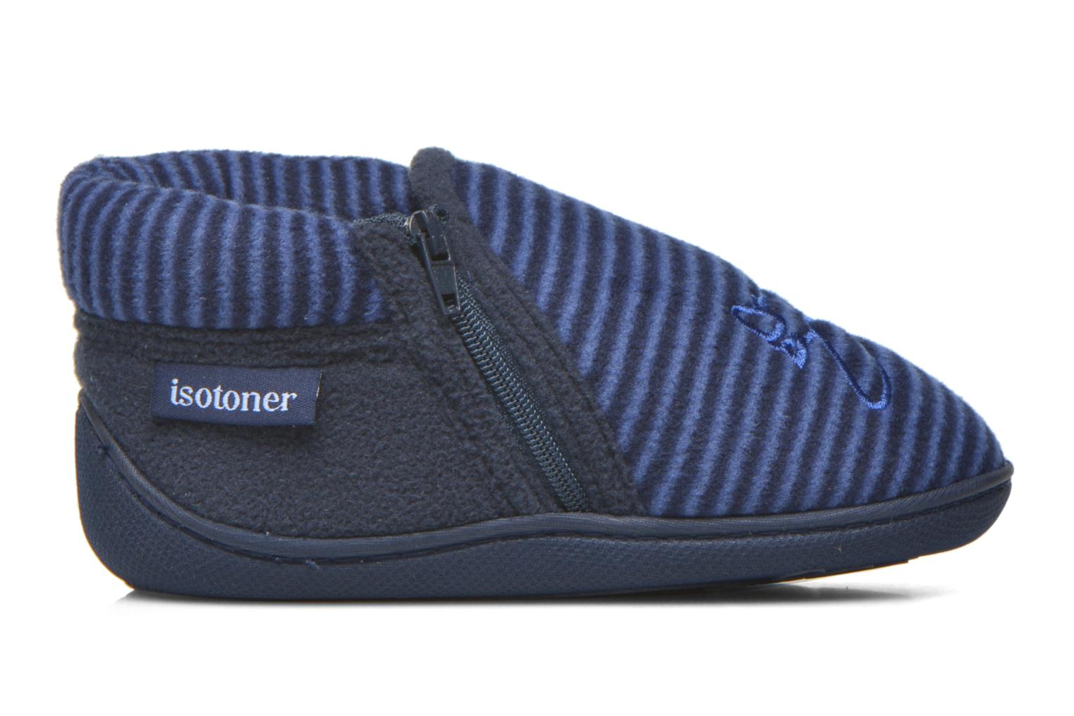 Slippers Isotoner Bottillon Zip polaire Blue back view