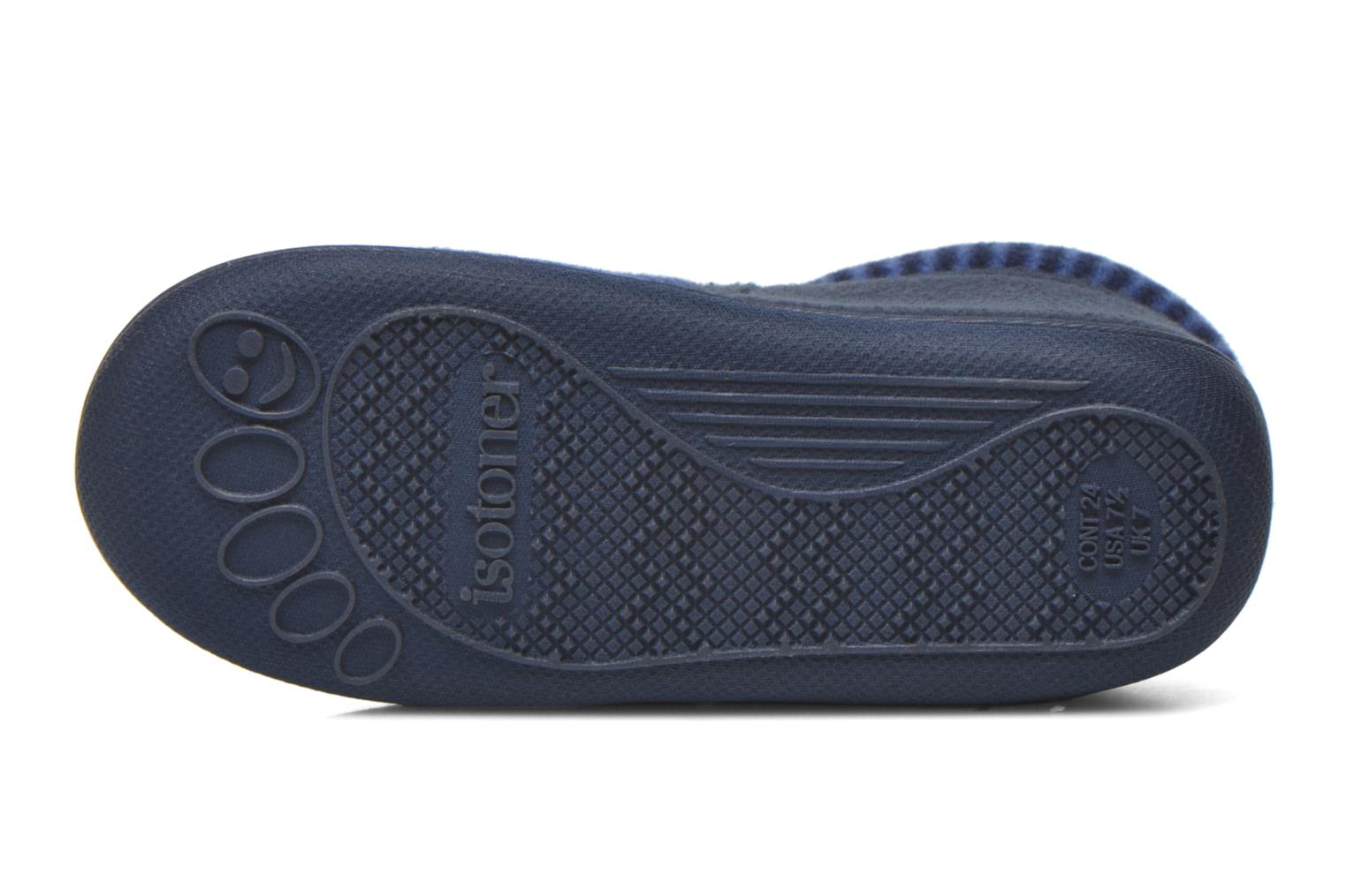 Slippers Isotoner Bottillon Zip polaire Blue view from above