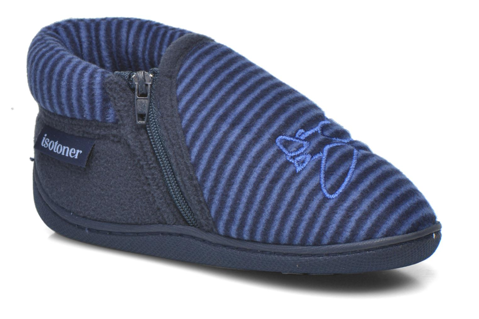Slippers Isotoner Bottillon Zip polaire Blue detailed view/ Pair view