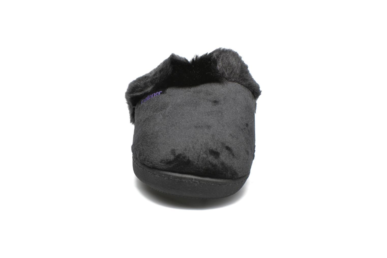 Chaussons Isotoner Mule ergonomique microvelours Noir vue portées chaussures