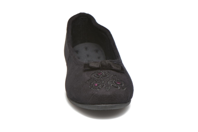 Hausschuhe Isotoner Ballerine talon faux suède schwarz schuhe getragen