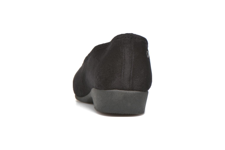 Hausschuhe Isotoner Ballerine talon faux suède schwarz ansicht von rechts