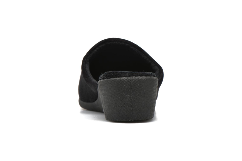 Hausschuhe Isotoner Mule talon faux suède schwarz ansicht von rechts