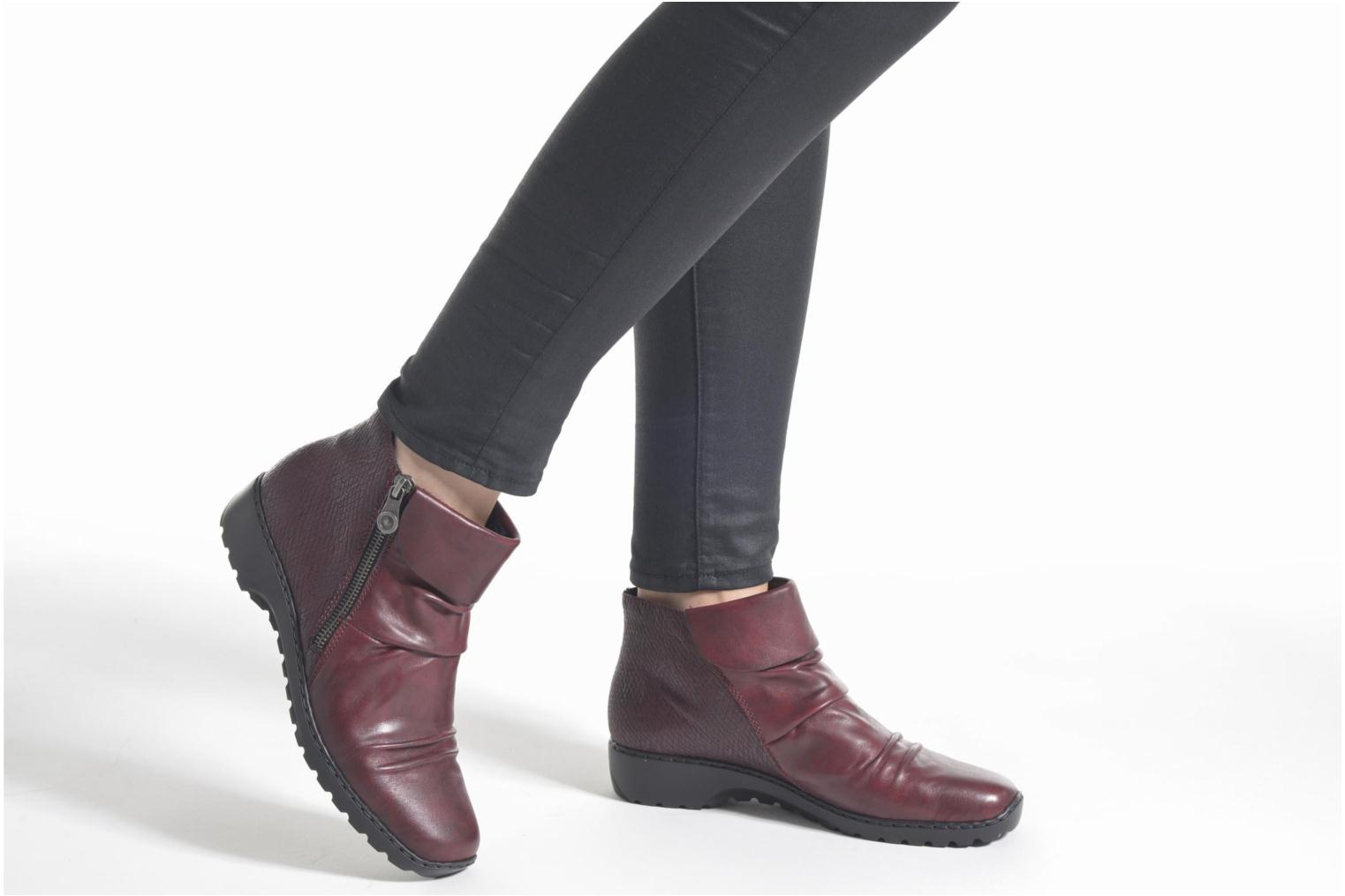Ankle boots Rieker Mag Z6083 Red view from underneath / model view