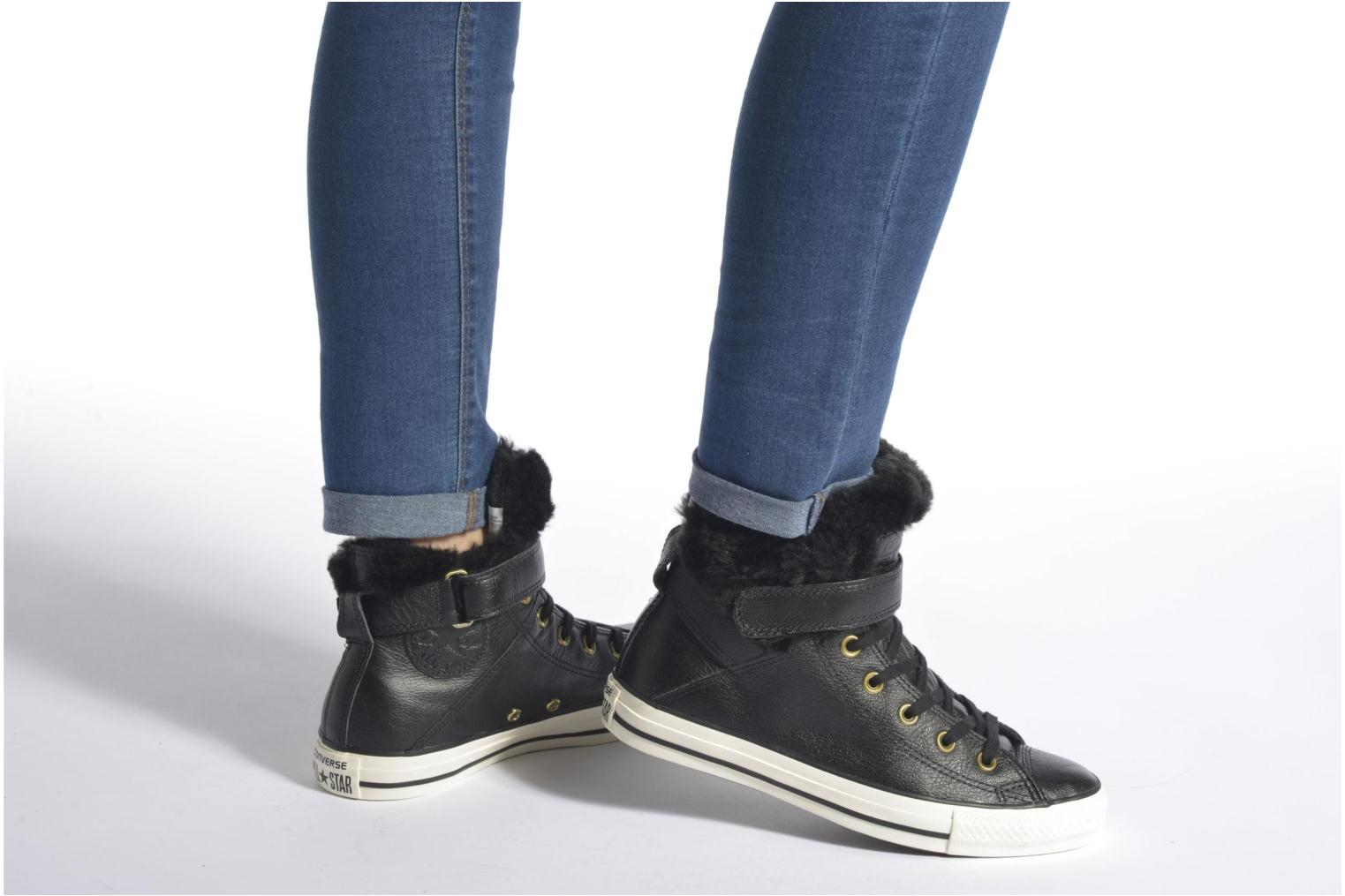 Trainers Converse Chuck Taylor All Star Brea Leather+Fur Hi Black view from underneath / model view