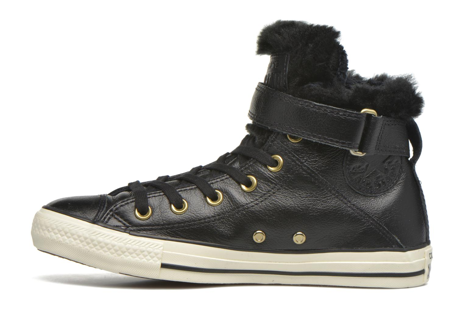 Trainers Converse Chuck Taylor All Star Brea Leather+Fur Hi Black front view