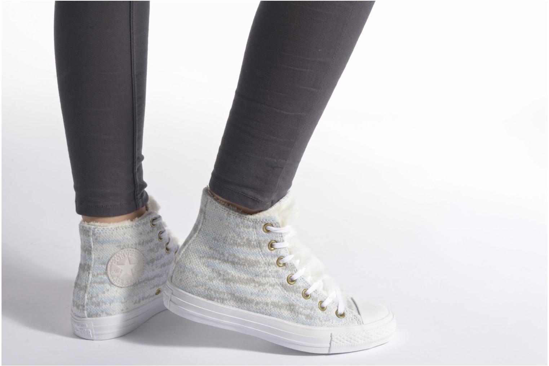 Baskets Converse Ctas Winter Knit+Fur Hi Blanc vue bas / vue portée sac