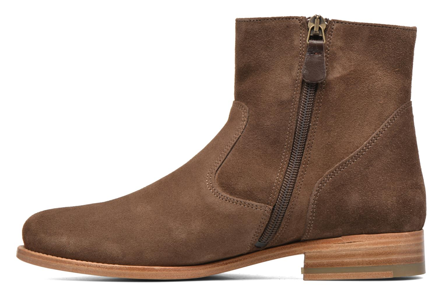 Ankle boots Bensimon Boots croute velours plate Brown front view