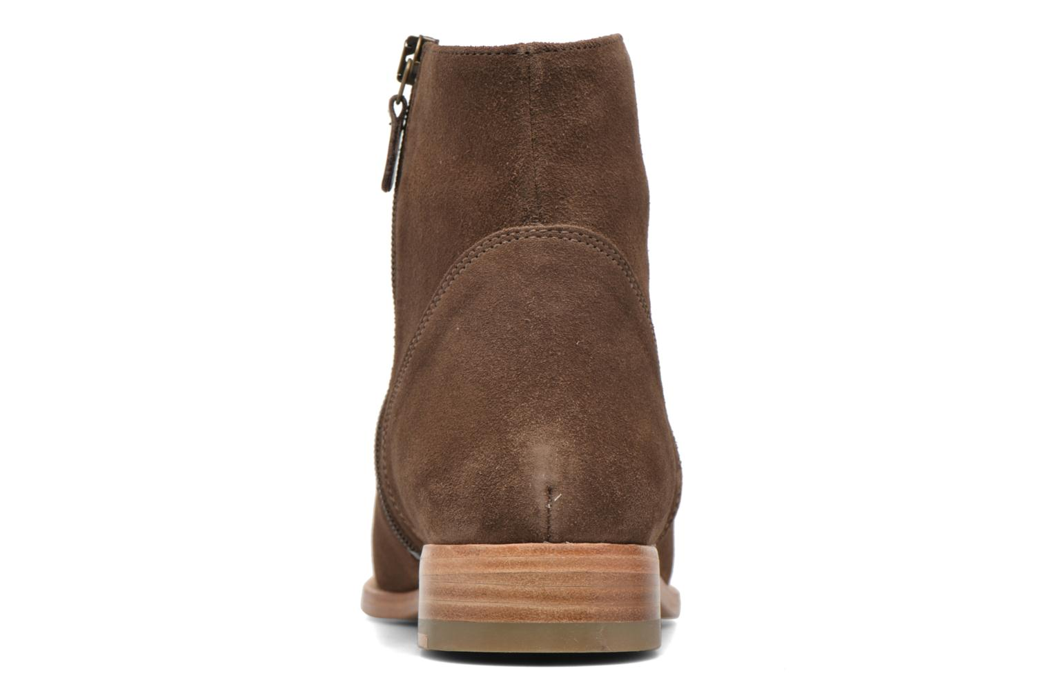 Ankle boots Bensimon Boots croute velours plate Brown view from the right
