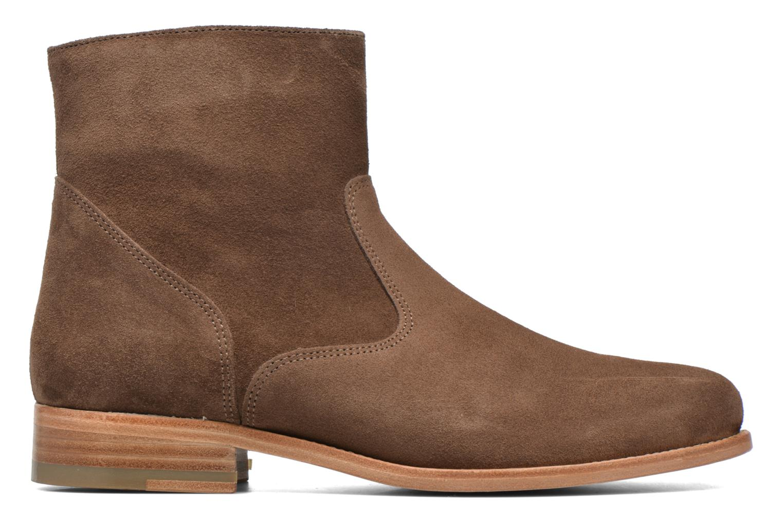 Ankle boots Bensimon Boots croute velours plate Brown back view