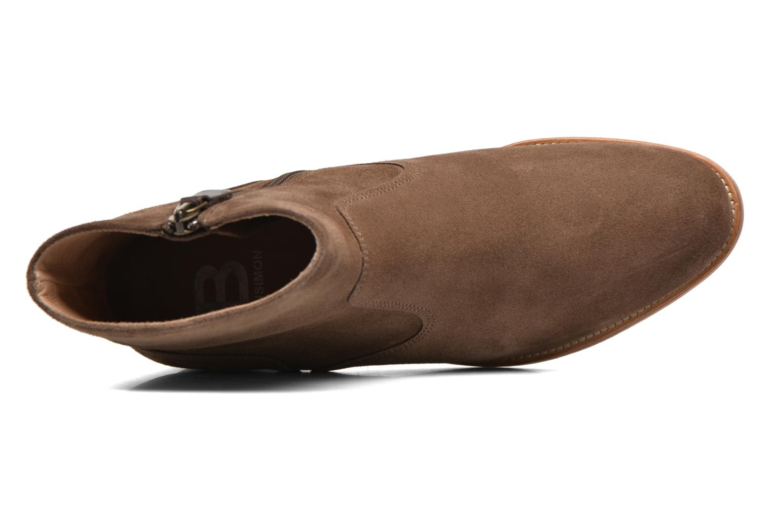 Ankle boots Bensimon Boots croute velours plate Brown view from the left
