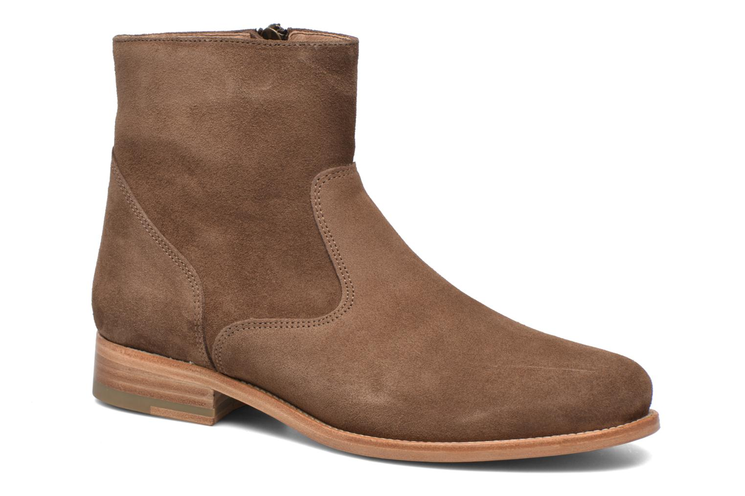 Ankle boots Bensimon Boots croute velours plate Brown detailed view/ Pair view