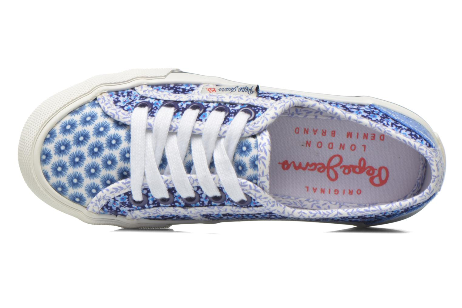 Trainers Pepe jeans Baker flowers Blue view from the left
