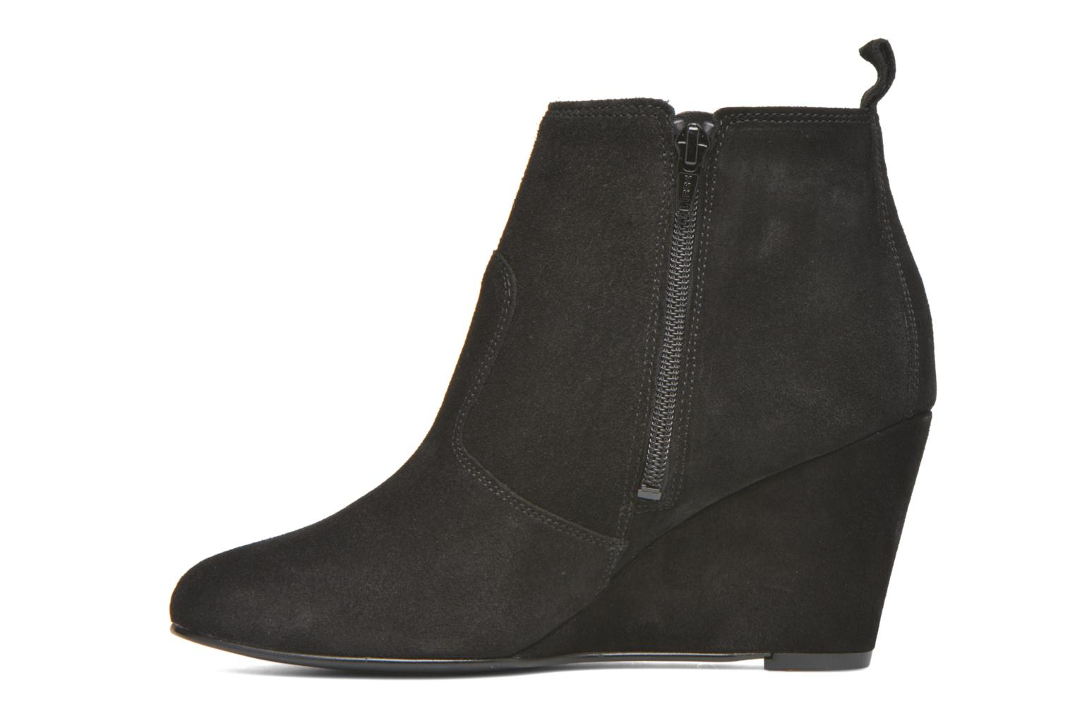 Ankle boots Vero Moda Lone Leather Wedge Boot Black front view