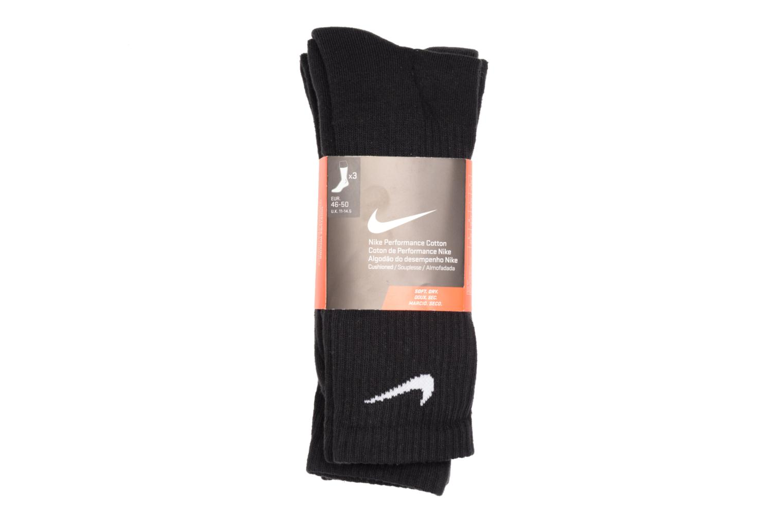 Nike Cotton Cushion Crew Training Sock (3 Pair) BLACK(WHITE)